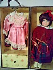 "12"" PORCELAIN DOLL WITH 3 DRESSES 2PR SHOES & WOODEN TRUNK"