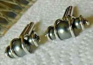 Vintage Pair Cufflinks Silver Twist w/Encased Gray Shiny Pearls Or Beads