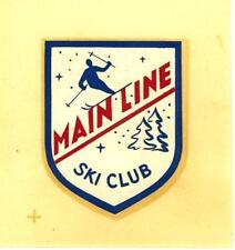 VINTAGE 1960s MAIN LINE SKI CLUB SOUVENIR TRAVEL WINDOW DECAL
