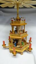 Vintage Wooden Windmill Candle Carousel Pyramid Christmas Nativity 3 Tier & Box✔