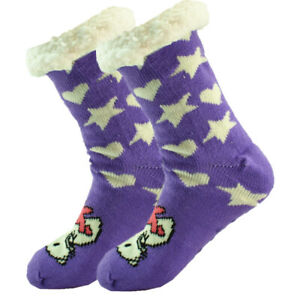 Winter Non Skid Fuzzy Sherpa Fleece Cushion Grip House Slipper Socks Animal Lot