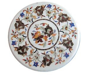 24 Inches Round Marble Patio Center Table Top Inlay Floral Pattern Coffee Table