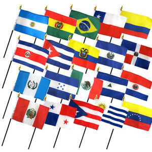 """Set of 20 Latin America American Countries 4""""x6"""" Desk Table Flag (No Bases)"""