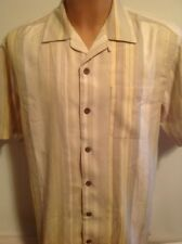 Tommy Bahama Camp Shirt, Loop Collar, Coconut Buttons, 100% Silk, Small