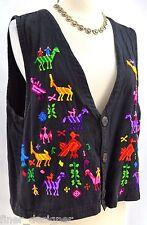 Chicos vintage tribal embroidered vest sleeveless top shabby Chico SZ 2 M L VTG