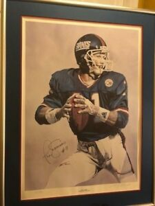 PHIL SIMMS SUPERBOWL XXI MVP 25/300 FRAMED GUARANTEED AUTOGRAPHED LITHOGRAPH