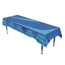 Happy Birthday Blue Star Party Table Cover Plastic Tablecloth 1-5PK Celebrate