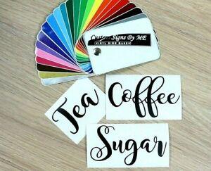Personalised Coffee Tea Sugar Jar Kitchen Storage Stickers Vinyl Decals Adhesive