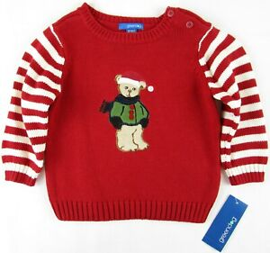 NWT Greendog Boy's Red Holiday Christmas Bear Pullover Sweater, 18M or 24M