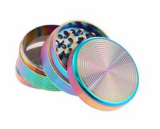 4-Part Metal Herb Tobacco Grinder in Petrol Colour, Gold, Black, Green and Pink