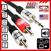 AUX Auxiliary 3.5mm Audio Male to 2 RCA Y Male Stereo Cable Cord Wire Plug