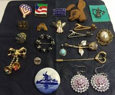 Lot of 20 Pins, Clips, Necklace Ornaments, and Ear Rings.