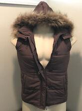 Finish line 365 womens hooded vest coat faux fur detachable brown medium