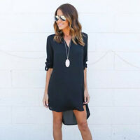 Womens Plus Size V Neck Chiffon Tops Loose T Shirt Summer Casual Blouse AU 6-18