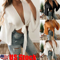 Women Deep V Neck Bandage Flared Sleeve Crop Top Tie Front Top Blouse T Shirt US