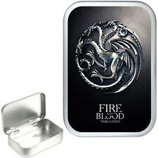TARGARYEN 50ml SILVER HINGED TIN BOX,STORAGE TIN BOX,PILL TIN,POCKET TIN