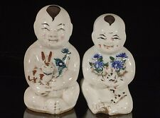 Two Antique / Vintage Chinese Multicolored Porcelain Statue Figure of Brothers