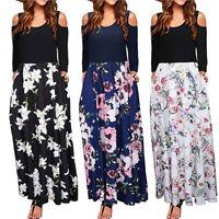 NEW Womens Cold Shoulder Floral Print Elegant Maxi Long Sleeve Dress with Pocket
