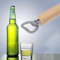 Wood Handle Bartender Bottle Opener Wine Beer Soda Kitchen Bar Staineless Steel