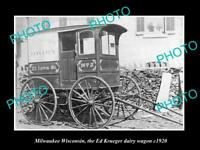 OLD LARGE HISTORIC PHOTO OF MILWAUKEE WISCONSIN, THE KREUGER DAIRY WAGON c1920