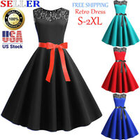 Women Girls Vintage 1950s Retro Sleeveless Lace Splice Party Prom Swing Dress US