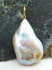 GORGEOUS AAA FRESHWATER 16.7x27mm WHITE RAINBOW CULTURED PEARL PENDANT