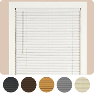 "Window Blinds Mini Blind 1"" Slat Vinyl Venetian Blinds - Black White Beige Gray"