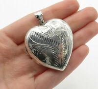 925 Sterling Silver - Vintage Floral Love Heart Locket Pendant (OPENS) - P10076