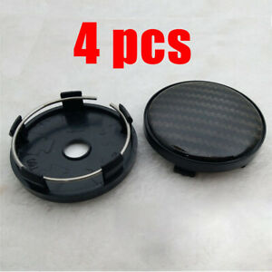 4pcs 60mm/ 58mm Black carbon fiber pattern Wheel Hub Center Caps ABS Plastic