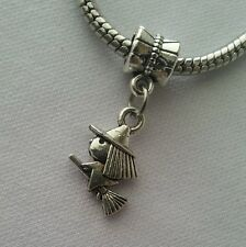 Witch Flying On Broom Halloween Dangle Bead For European Charm Bracelet Or Clip