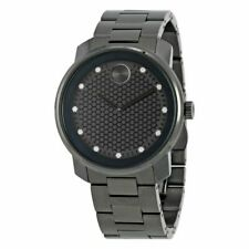 New Movado Bold 3600375 Diamond Hour Markers Black Stainless Steel Men's Watch