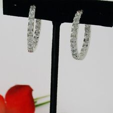 WHITE LARGE HOOP CZ CUBIC ZIRCONIA EARRINGS IN & OUT