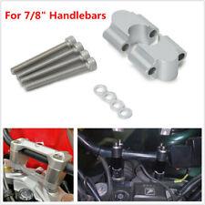 "2x Universal Silver Motorcycle ATV CNC 7/8"" Handlebar Riser 22mm Bar Clamp Mount"