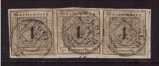 Württemberg, Mi-Nr. 1 y b, 3 Stück als Dreierstreifen geklebt, Attest (20406)