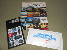 1975 CAMARO BROCHURE + ACCESSORIES CATALOG & PAINT COLOR CHIPS FOLDER, 3 for 1