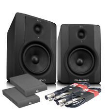 M Audio BX8 D2 studio monitor 70W paire, isolation pads & cables paquet bundle