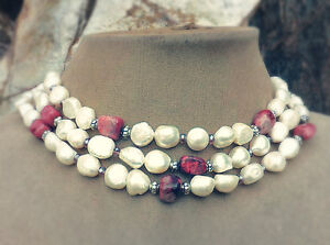 PEARL PINK Crazy Lace Agate Stone SILVER BALI BEAD BRIDAL NECKLACE BRIDE Jewelry