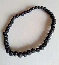 Pulsera bolitas de lava negra elastica para hombre o mujer