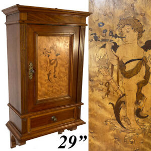 """Antique Victorian Era 29"""" Wall Cabinet, Pipe or Tobacco Smoker's Chest, Figural"""