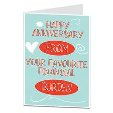Anniversary Card For Husband Boyfriend BF Him Funny Alternative Financial Burden