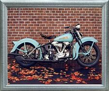 1938 Aqua Harley Davidson Vintage Motorcycle Wall Decor Silver Framed Picture