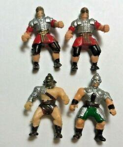 "Mini Vikings 1"" Tall Green Brown Red Silver Lot of 4"