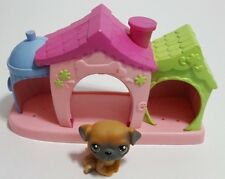 Littlest Pet Shop Puppy #2 Brown/Gray Green Eyes 2004 and Petriplets Dog House