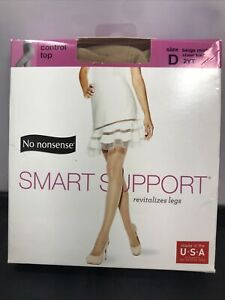 No Nonsense Smart Support Control Top Sheer Toe, Beige Mist,Size D 2YT