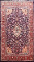 Vintage Floral Hand-knotted Traditional NAVY BLUE Area Rug Wool Oriental 7'x11'