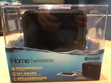 iHome IBN6B Wireless Bluetooth Portable Waterproof Stereo Speaker w/3.5mm Aux