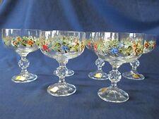JOSKA Glasses Waldglashutte Bodenmais Bayer Wald GOBLETS Set 6 Floral Design NEW
