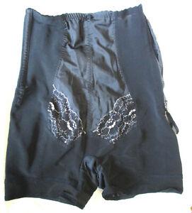 Panty Girdle BERLEI GAYSLANT Split Crotch Side Zip Boned Black Silver Lace Sz L