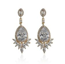 SAMANTHA WILLS Distance of Dawn Grand Earrings New Clear Crystals Gold Tag Pouch