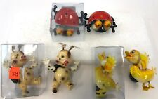 Lot o 6 Plastic Ducks Ladybug Pigs Bobble Refrigerator Kitsch Kick Knack Magnets